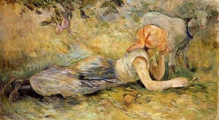 Берта Моризо. Лежащая пастушка. 1891. Холст, масло. 97 x 176. Музей Мармоттан Моне, Париж.