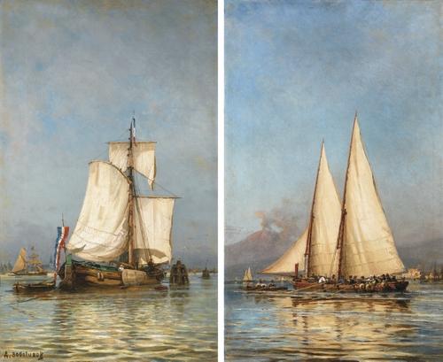Алексей Боголюбов. Две парусных лодки. Голландская и неапольская. 74.5 х 44.